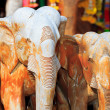 Wooden elephant at the temple - Stock Photo