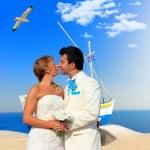 Bride and groom on Santorini island — Stock Photo #27212975