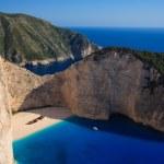 Shipwreck Navagio beach in Zakynthos islan — Stock Photo #27217001