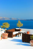 Santorini balconny with view at the sea — Stock Photo