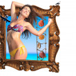 Young woman going ot of the frame travel concept — Stock Photo