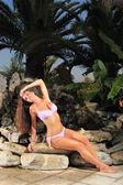 Beautiful girl relaxing outdoor — Stock Photo