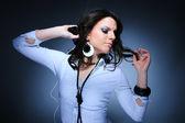 Beautiful Girl and music — Stock Photo