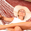 Stock Photo: Womrelaxing in afternoon