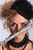 Sexy Flautist — Stock Photo
