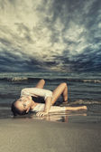 Woman on the beach — Foto Stock