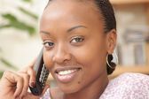 Picture of a happy woman on the phone — Stock Photo