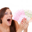 Happy woman with group of euro bills Isolated. — Stock Photo #27526561