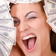 Attractive woman takes lot of 100 dollar bills — Stock Photo #27526737