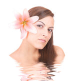Beautiful girl with in rendered water — Stock Photo