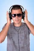 Man is listening to the music — Stock Photo