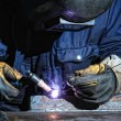 Welding and bright sparks. — Stock Photo