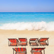 Paradisiac beach with chairs  — Stock Photo
