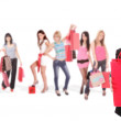 Shopping man with group of girls — Stock Photo #2878746