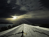 Asphalt the old road — Stock Photo