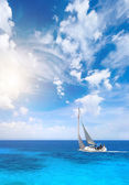 Sailing in Greece around Lefkas island — Stock Photo