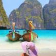 Stock Photo: Young woman at Maya bay Phi Phi Leh island