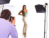Young model poses for young photographer — Stock Photo
