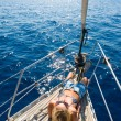 Young woman Sailing  — Stock Photo