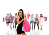 Happy woman with shopping bags — Стоковое фото