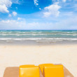 Beach sunbeds on the beach — Stock Photo