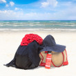 Beach items on the beach — Stock Photo