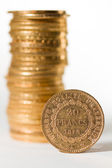 Twenty French Francs coins — Stock Photo