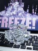 Ice cubes on computer keyboard — Foto de Stock