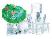 Ice cubes on white background. — Stock Photo