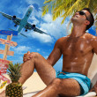 Man on the tropical beach — Stock Photo