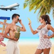 Couple on the beach at tropical resort  — Stock Photo