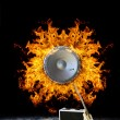 Guitar with loudspeaker on Fire — Stock Photo