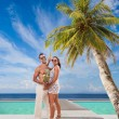 Couple on the tropical beach — Foto de Stock