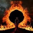 Woman at the gate of hell — Stock Photo