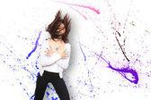 Woman dancing bokeh background — Stock Photo