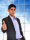 Business man posing at corporate building — Stock Photo