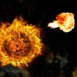 Stock Photo: Apocalyptic background - planet Earth exploding