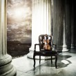 Old chair and violin — Stock Photo