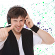 Young man listening music. — Stock Photo