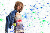 Fashion woman 80's style — Stock Photo