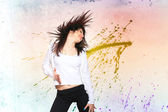 Kobieta taniec tło bokeh — Zdjęcie stockowe