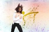 Frau tanzen bokeh-hintergrund — Stockfoto