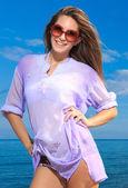 Woman on the beach — Stock Photo