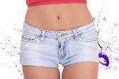 Young woman in blue jeans shorts — Foto de Stock