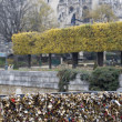 Love locks in Paris bridge symbol of friendship and romance — Stok fotoğraf