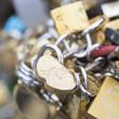 Love locks in Paris bridge symbol of friendship and romance — Stock Photo #36864737