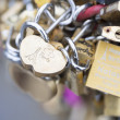 Love locks in Paris bridge symbol of friendship and romance — Foto de Stock