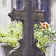 Stockfoto: Old nameless tombstone in cemetery