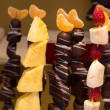 Stock Photo: Fruit skewer and chocolate