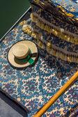 Focus on a gondola's hat in venice — Stock Photo